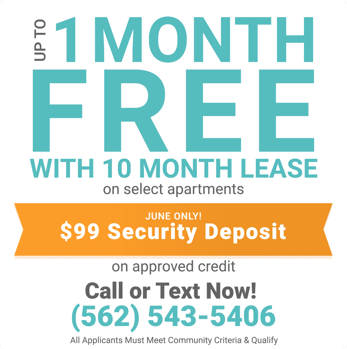Up to 1 month free with 10 month lease on select apartments on approved credit